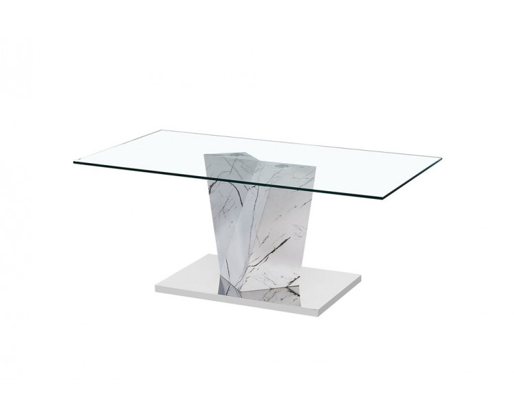 Alpha Coffee Table White Marble Effect Base