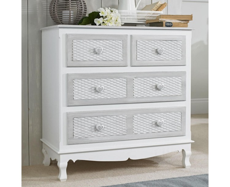 Brittany White and Grey 2+2 Chest
