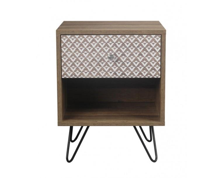 Casablanca Foiled Print 1 Draw Lamp Table