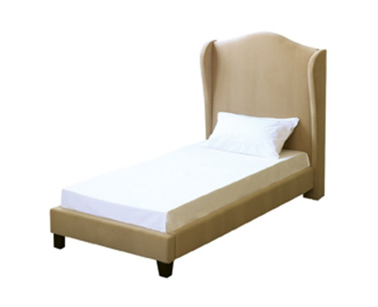 Chateaux Beige Velvet Wing Style 3FT Single Bed