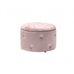 Cleo Pink Buttoned Design Storage Pouffe