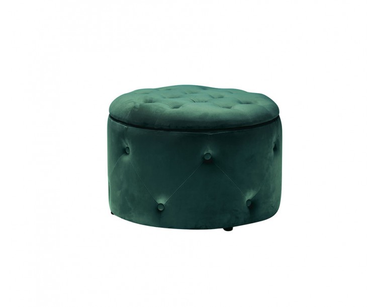Cleo Teal Buttoned Design Storage Pouffe
