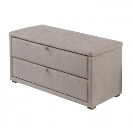 Darcy Mink Chenille Fabric 2 Drawer Ottoman Storage Box