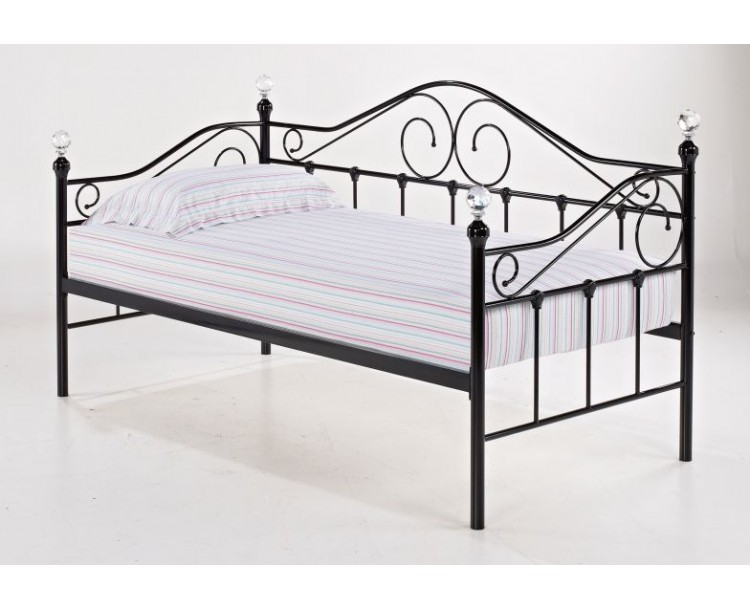 Florence 3ft Single Crystal Swirl Metal Day Bed Black
