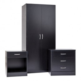 Delta Bedroom Set Bedside Chest Wardrobe Black