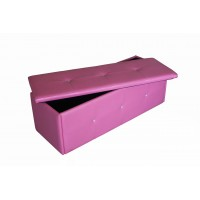 Diamante Faux Leather Storage Ottoman Box In Pink