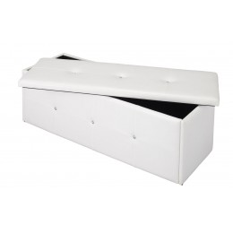 Diamante Faux Leather Storage Ottoman Box In White