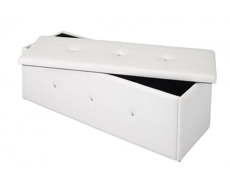 Marvelous Diamante Faux Leather Storage Ottoman Box In White ...