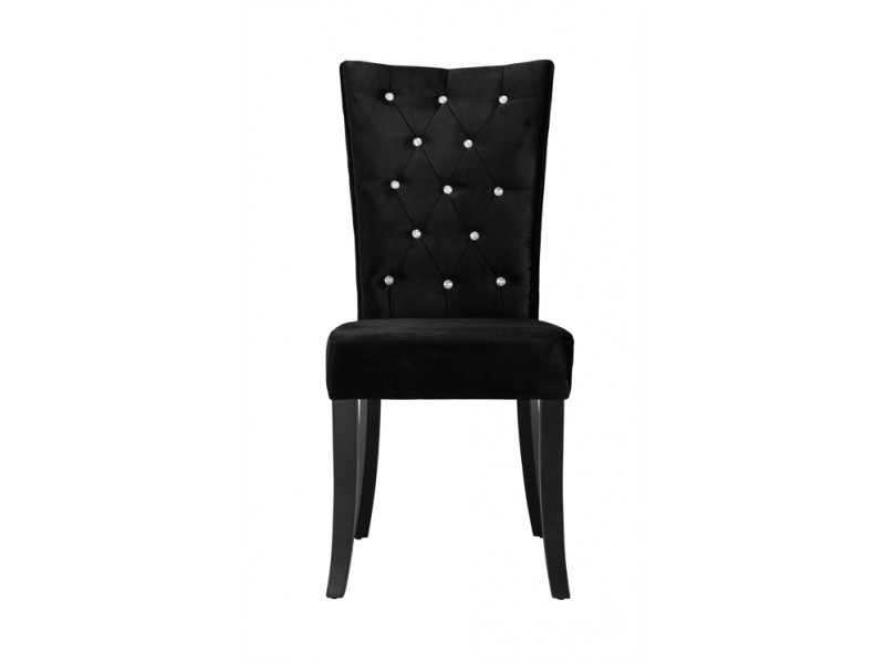 Grey Velvet High Back Dining Chairs: Radiance Black Velvet Dining Chair With Crystal Diamantes