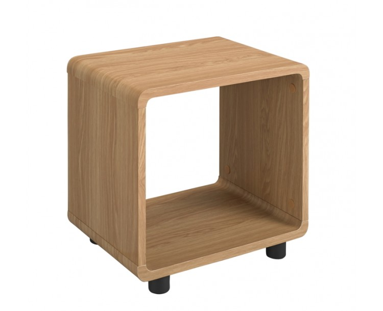 Curve Design Oak Veneer Finished Lamp End Table