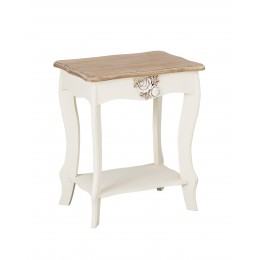 Shabby Chic Vintage Juliette End Lamp Table In Oak-White