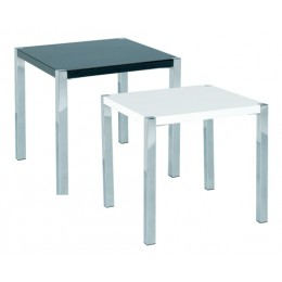 Novello Modern High Gloss End Lamp Table In Black And White
