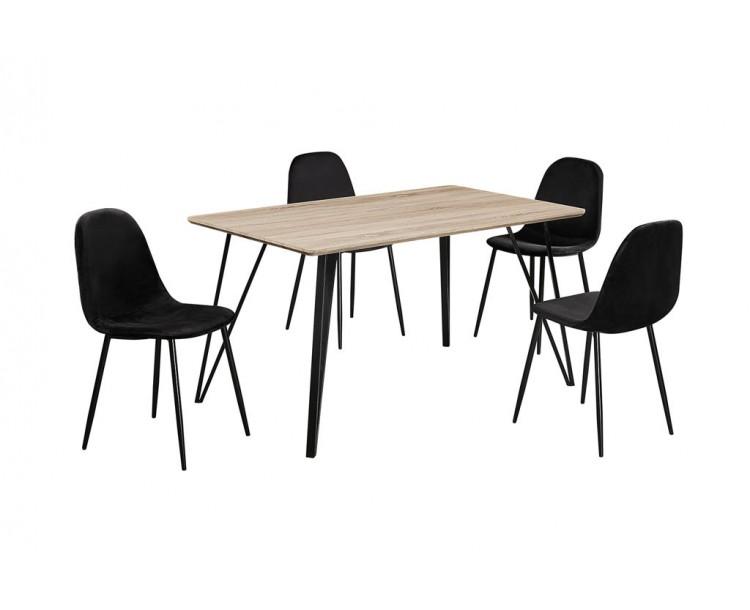 Genoa Dining Table Light Oak Effect Black Metal Legs
