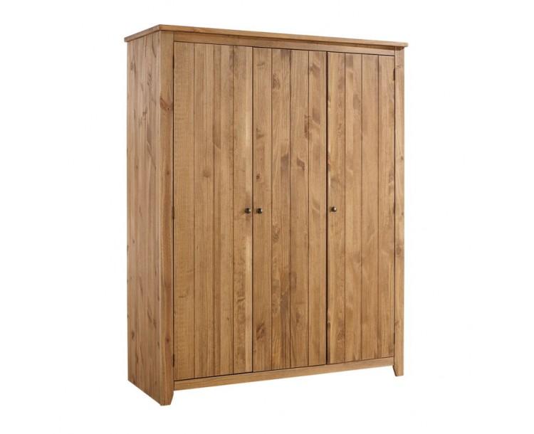 Havana Pine 3 Door Wardrobe 2 Shelves