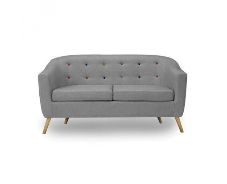 Hudson Grey Retro Style Sofa with Buttons