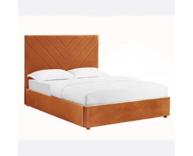 Islington Orange Soft Velvet Kingsize Bed