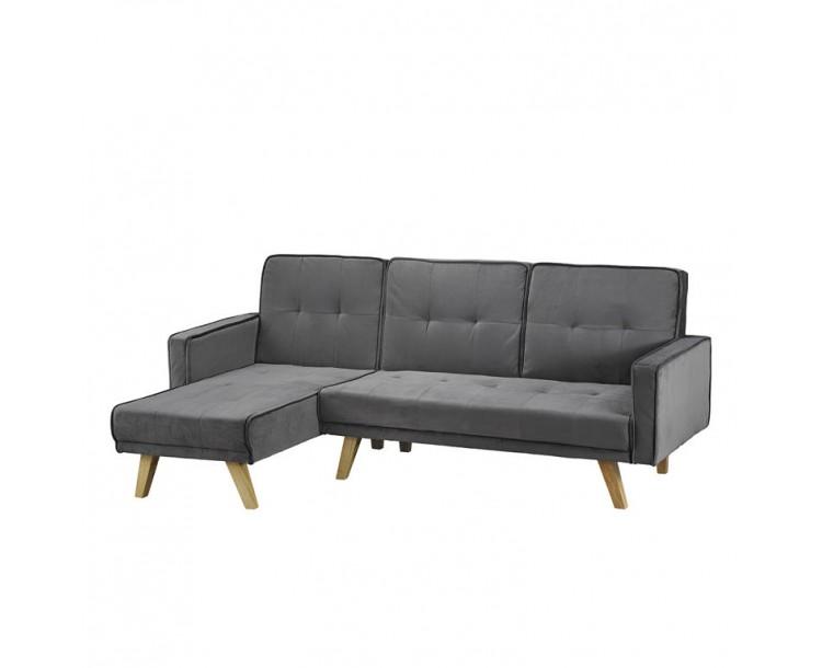 Kitson Corner Sofa Bed Silver-Grey Velvet