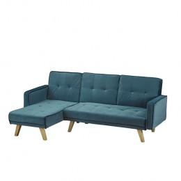 Kitson Corner Sofa Bed Teal Velvet