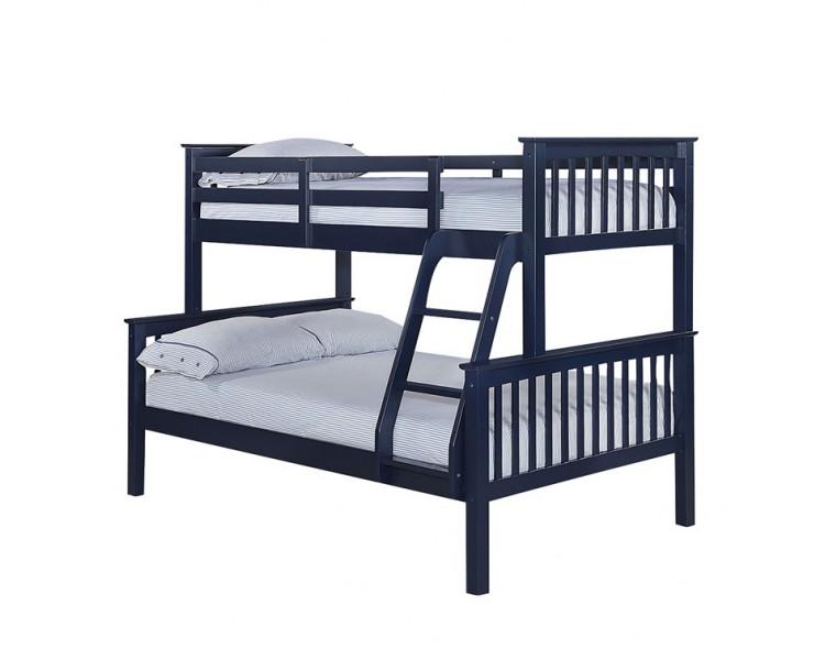 Otto Trio Pine Contemporary Bunk Bed Navy