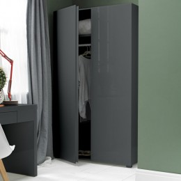 Puro Charcoal Sleek Design 2 Door Wardrobe