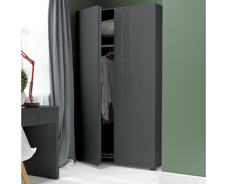 Puro Charcoal Sleek Design 2 Door Wardrobe