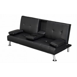 Luciana Cinema Fold Down Sofa Bed Black Faux Leather