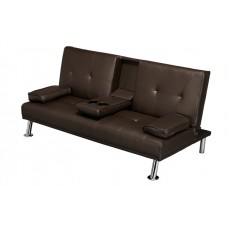 Luciana Cinema Fold Down Sofa Bed Brown Faux Leather