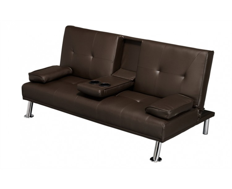 Luciana Faux Leather Cinema Style Sofa Bed w/ Drinks Holder