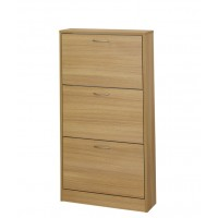 Nova Three Drawer Oak Veneer Finish Shoe Cabinet