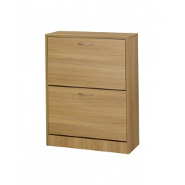 Nova Two Drawer Oak Veneer Finish Shoe Cabinet