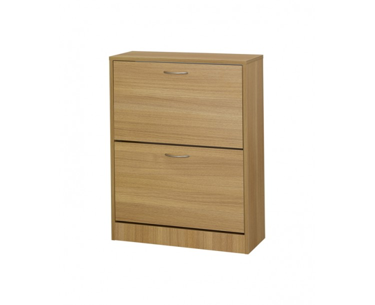 Nova Two Drawer Oak Finish Shoe Cabinet