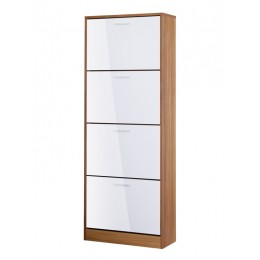 Strand High Gloss White and Oak Four Drawer Shoe Cabinet