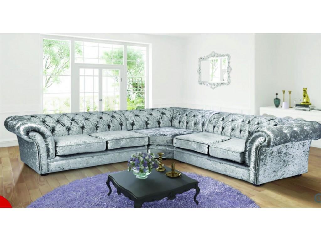 Chesterfield Crushed Velvet Silver Fabric Large Corner Sofa
