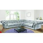 Chesterfield Chenille Silver Fabric Large Corner Sofa