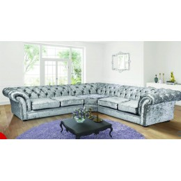 Chesterfield Chenille Silver Fabric Large Corner Sofa