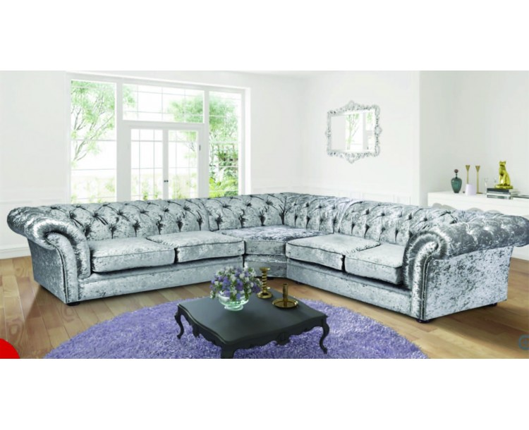 Chesterfield Chenille Silver Fabric Large Corner Sofa | Zest Interiors