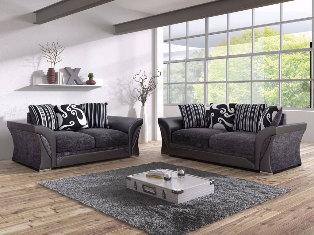 Shannon Black Fabric 32 Seater Living Room Sofa Set