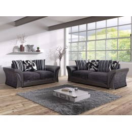 Shannon Black Fabric 3+2 Seater Living Room Sofa Set
