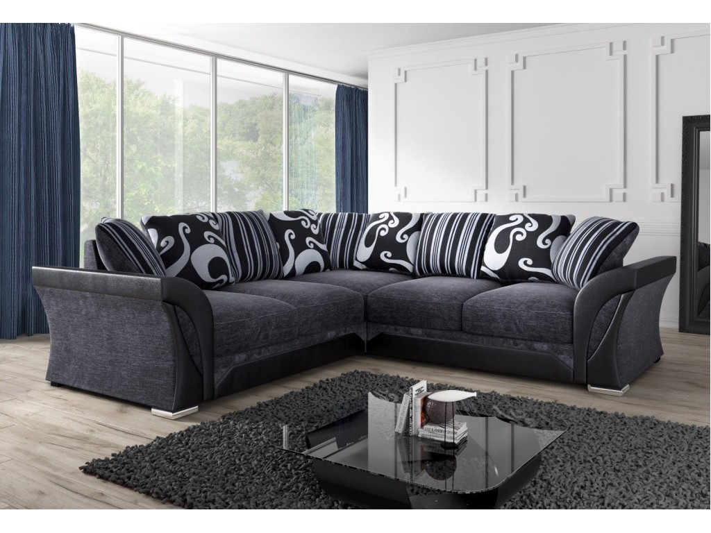 Incredible Shannon Black Fabric Large Living Room Corner Sofa Caraccident5 Cool Chair Designs And Ideas Caraccident5Info