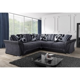 Shannon Black Fabric Large Living Room Corner Sofa