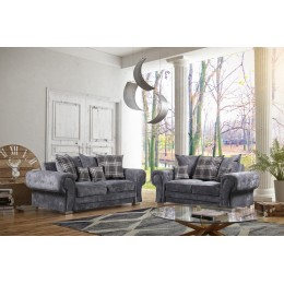 Venezia Grey Fabric 3+2 Seater Living Room Scatterback Sofas