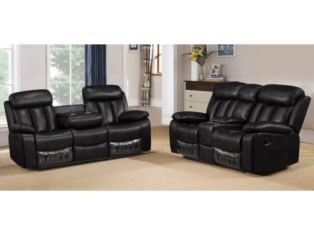 Milano 3 2 Seater Black Leather Recliner Sofa Set