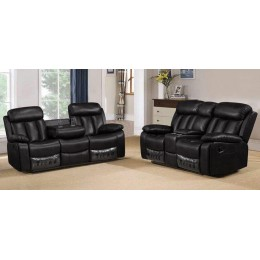 Milano 3+2 Seater Black Leather Recliner Sofa Set