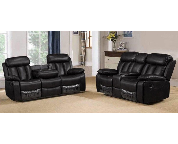 Marvelous Milano 3 2 Seater Black Leather Recliner Sofa Set Download Free Architecture Designs Scobabritishbridgeorg