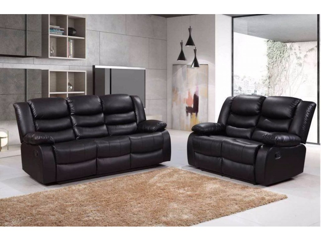 Romero 3 And 2 Seater Faux Leather Recliner Sofa Set
