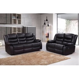 Romero 3 and 2 Seater Black Leather Recliner Sofa Set