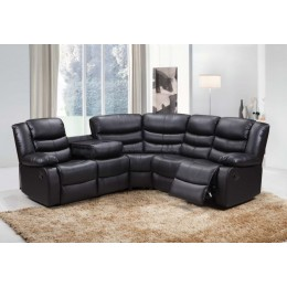 Roma Leather Corner Sofa Suite With Reclining Chairs