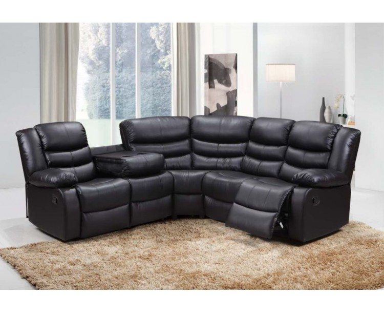 Roma Bonded Leather Corner Sofa Suite With Reclining Chairs