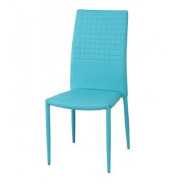 Cuba Stackable Dining Chair PU Faux Leather Aqua Blue