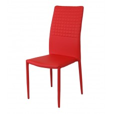 Cuba Stackable Dining Chair PU Faux Leather Red